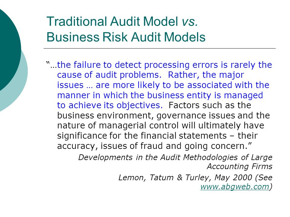 Traditional Audit Model vs.