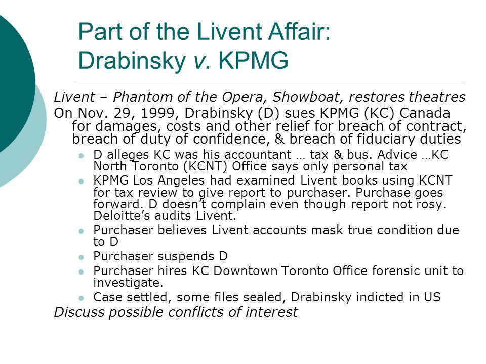 Part of the Livent Affair: Drabinsky v.