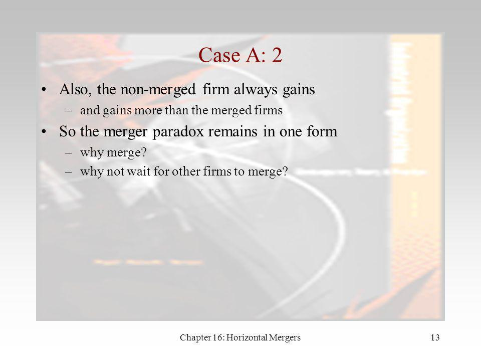 Chapter 16: Horizontal Mergers12 Case A: Merger Reduces Fixed Costs Suppose that b = 1 –all firms have the same marginal costs of 30 –but the merged f