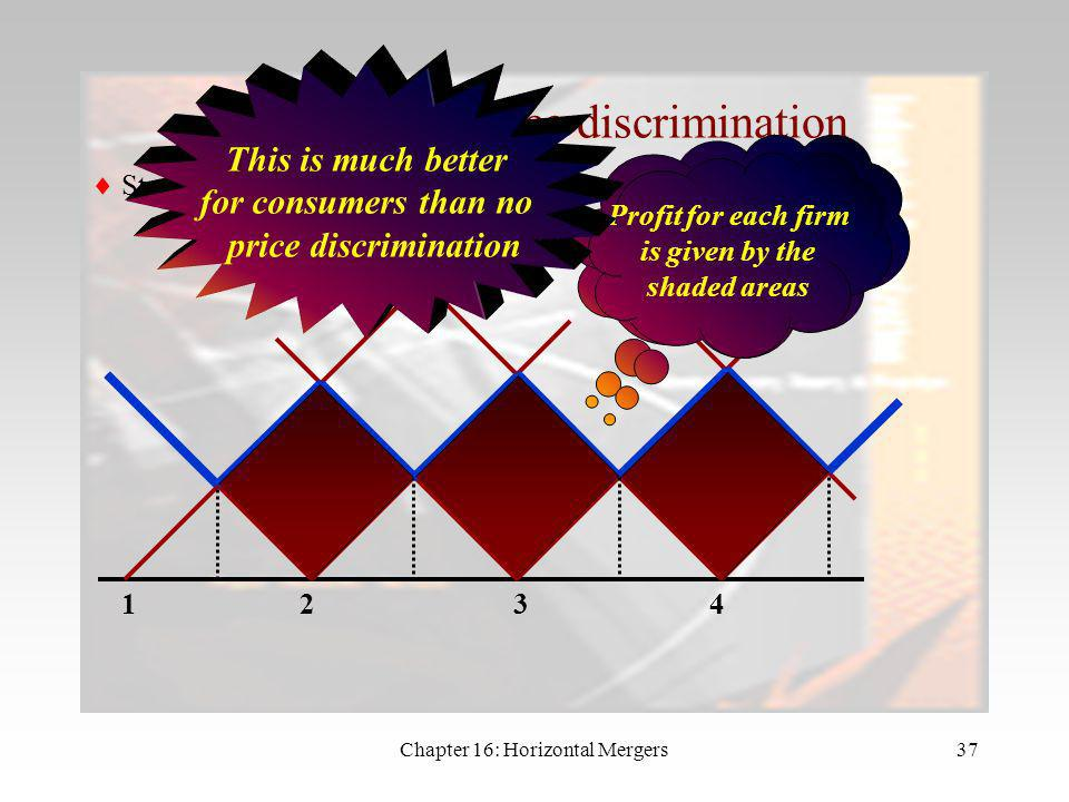 Chapter 16: Horizontal Mergers36 Price Discrimination What happens if the firms can price discriminate? This leads to a dramatic change in the price e