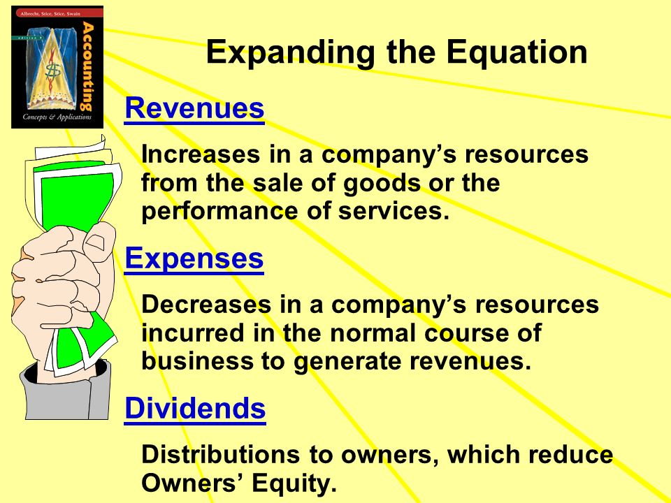 Revenues Increases in a companys resources from the sale of goods or the performance of services. Expenses Decreases in a companys resources incurred