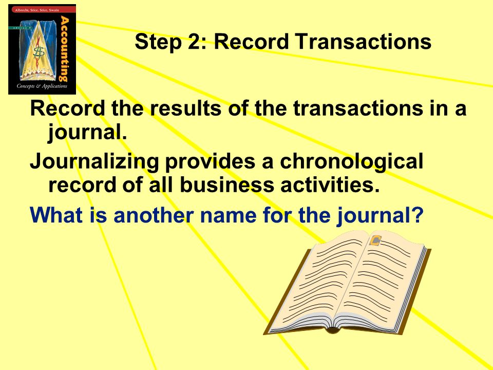Step 2: Record Transactions Record the results of the transactions in a journal. Journalizing provides a chronological record of all business activiti