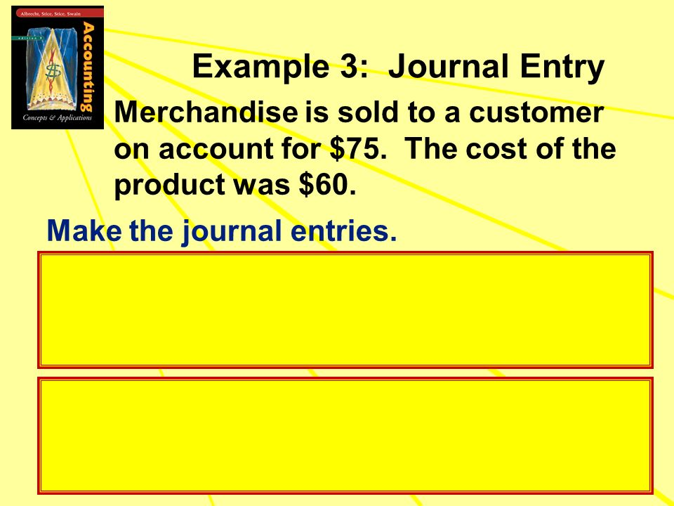 Example 3: Journal Entry Merchandise is sold to a customer on account for $75. The cost of the product was $60. Make the journal entries.