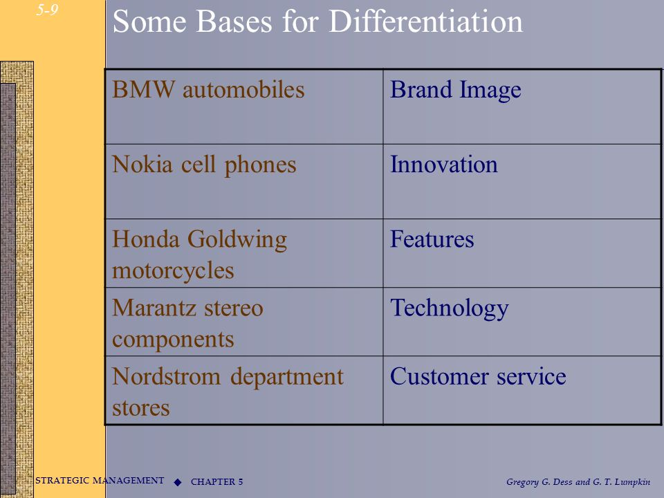 CHAPTER 5 STRATEGIC MANAGEMENT Gregory G. Dess and G. T. Lumpkin 5-9 Some Bases for Differentiation BMW automobilesBrand Image Nokia cell phonesInnova