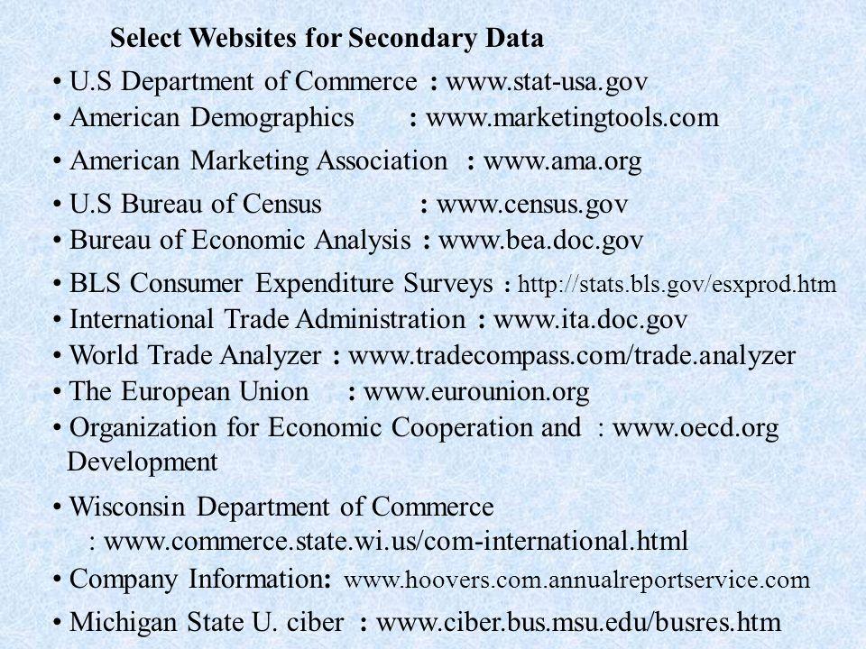 Select Websites for Secondary Data U.S Department of Commerce : www.stat-usa.gov American Demographics : www.marketingtools.com American Marketing Association : www.ama.org U.S Bureau of Census : www.census.gov Bureau of Economic Analysis : www.bea.doc.gov BLS Consumer Expenditure Surveys : http://stats.bls.gov/esxprod.htm International Trade Administration : www.ita.doc.gov World Trade Analyzer : www.tradecompass.com/trade.analyzer The European Union : www.eurounion.org Organization for Economic Cooperation and : www.oecd.org Development Wisconsin Department of Commerce : www.commerce.state.wi.us/com-international.html Company Information: www.hoovers.com.annualreportservice.com Michigan State U.