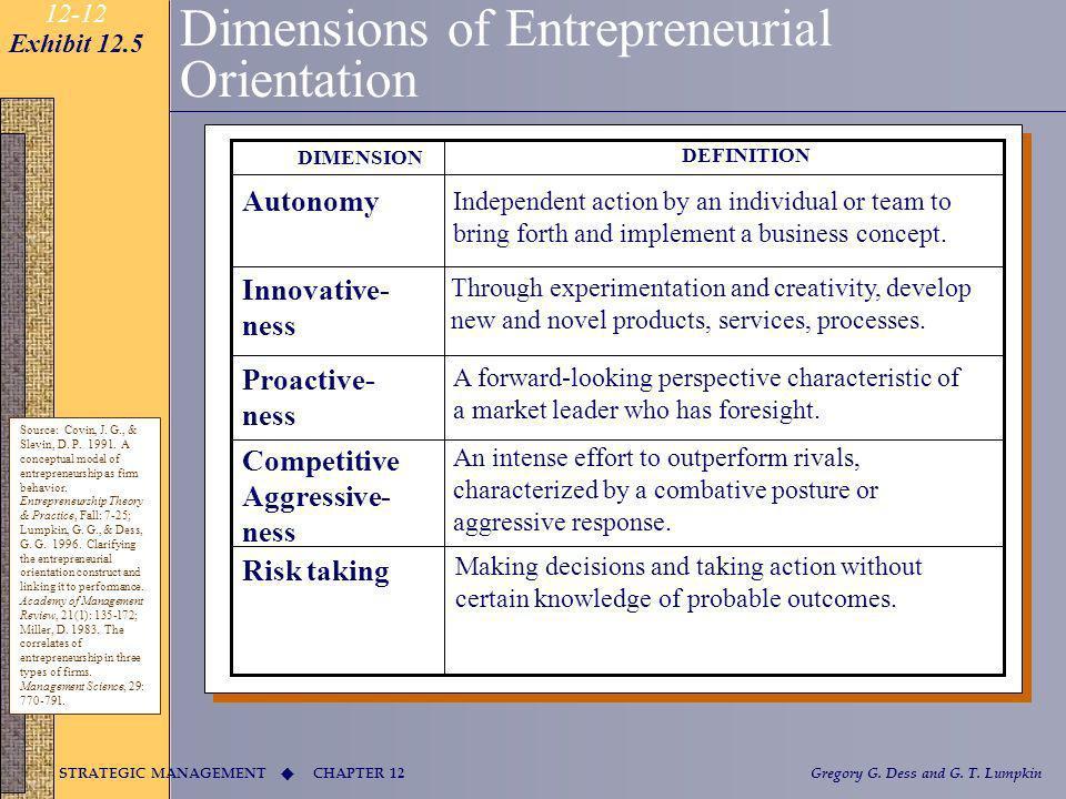 CHAPTER 12 STRATEGIC MANAGEMENT Gregory G. Dess and G. T. Lumpkin 12-12 Dimensions of Entrepreneurial Orientation Source: Covin, J. G., & Slevin, D. P