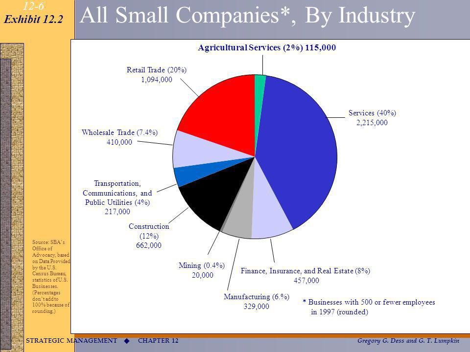 CHAPTER 12 STRATEGIC MANAGEMENT Gregory G. Dess and G. T. Lumpkin 12-6 All Small Companies*, By Industry Services (40%) 2,215,000 Agricultural Service