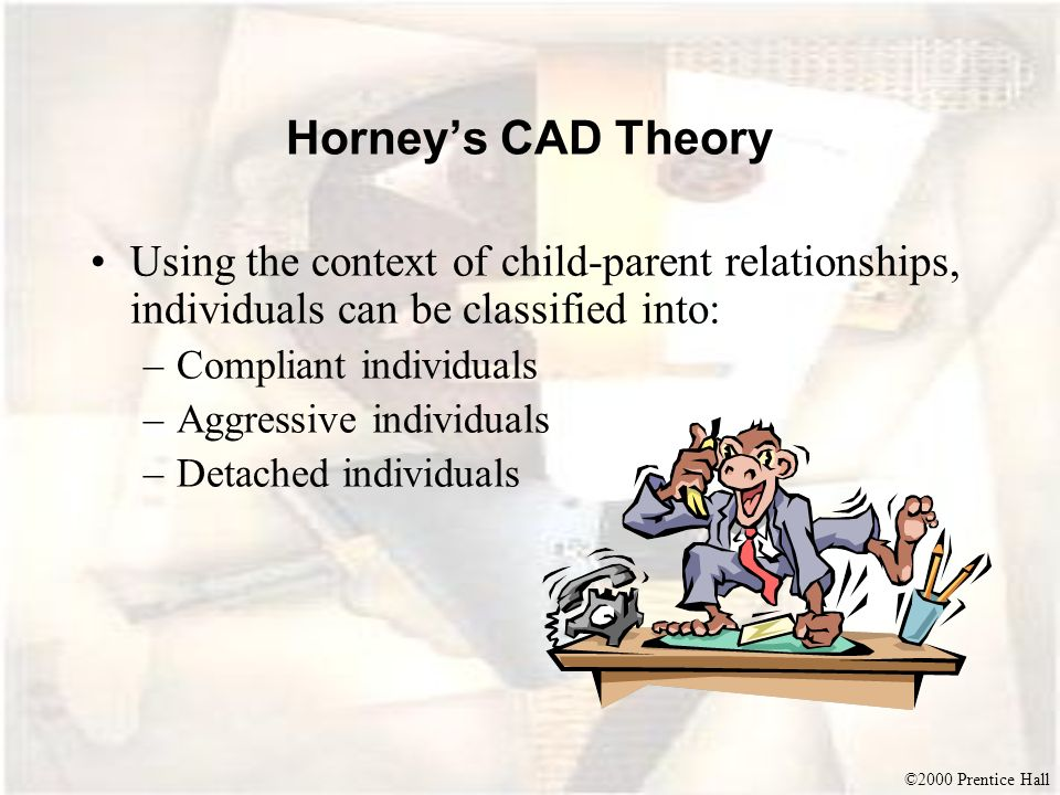 ©2000 Prentice Hall Horneys CAD Theory Using the context of child-parent relationships, individuals can be classified into: –Compliant individuals –Ag