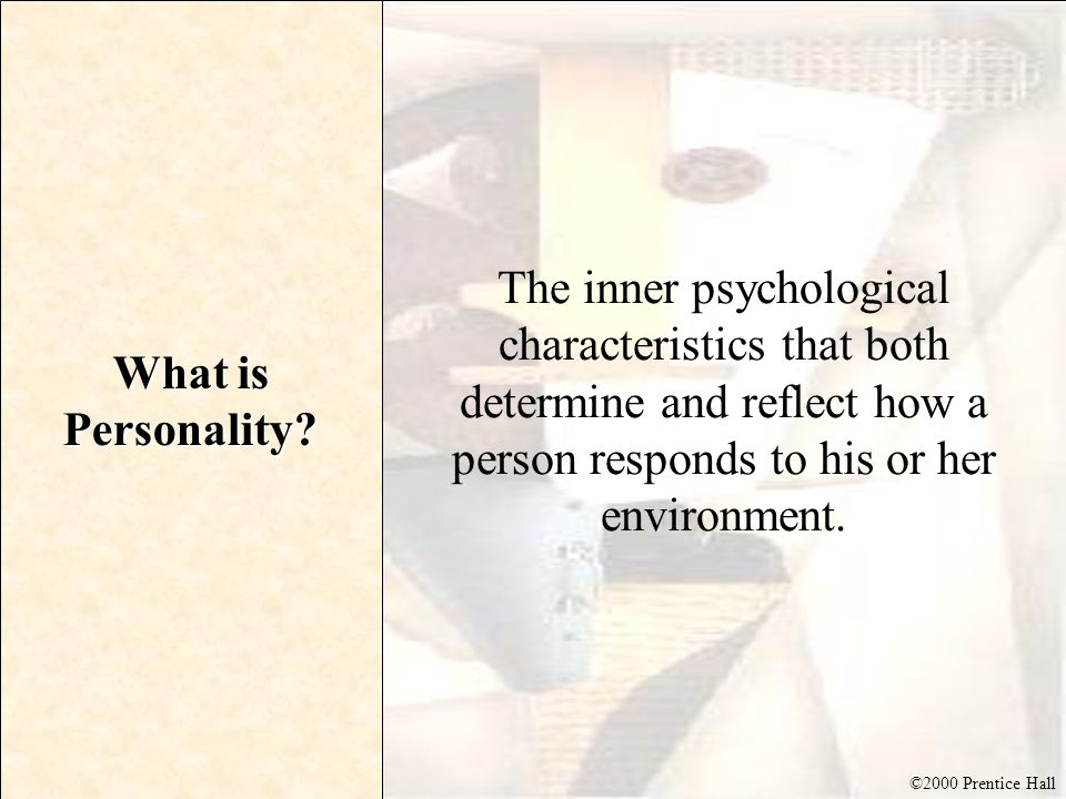 ©2000 Prentice Hall The Nature of Personality Personality reflects individual differences Personality is consistent and enduring Personality can change