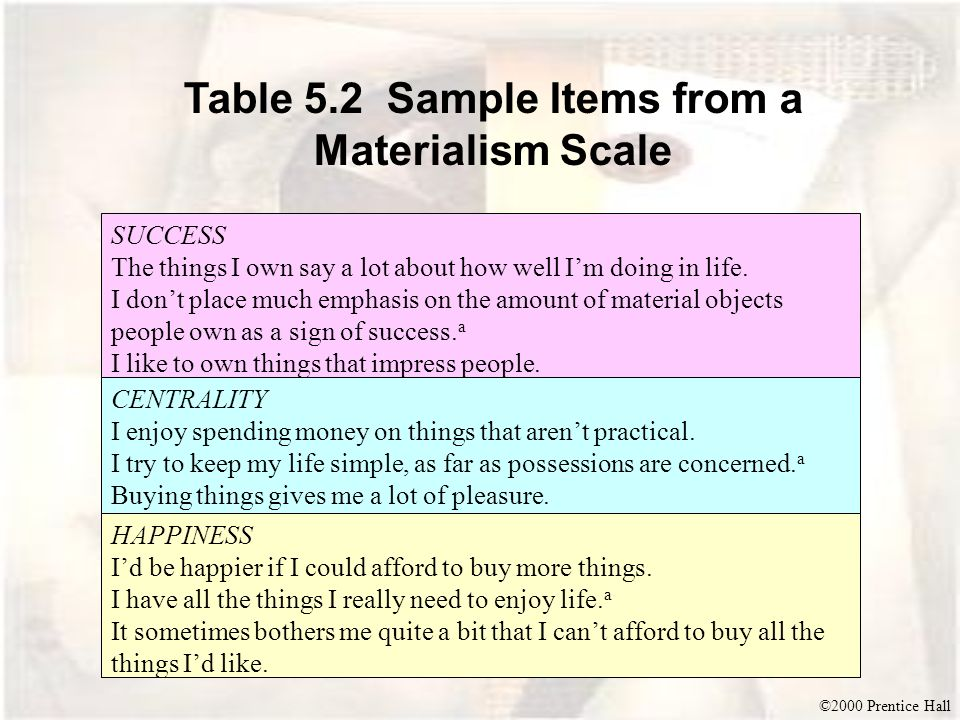 ©2000 Prentice Hall Table 5.2 Sample Items from a Materialism Scale SUCCESS The things I own say a lot about how well Im doing in life. I dont place m