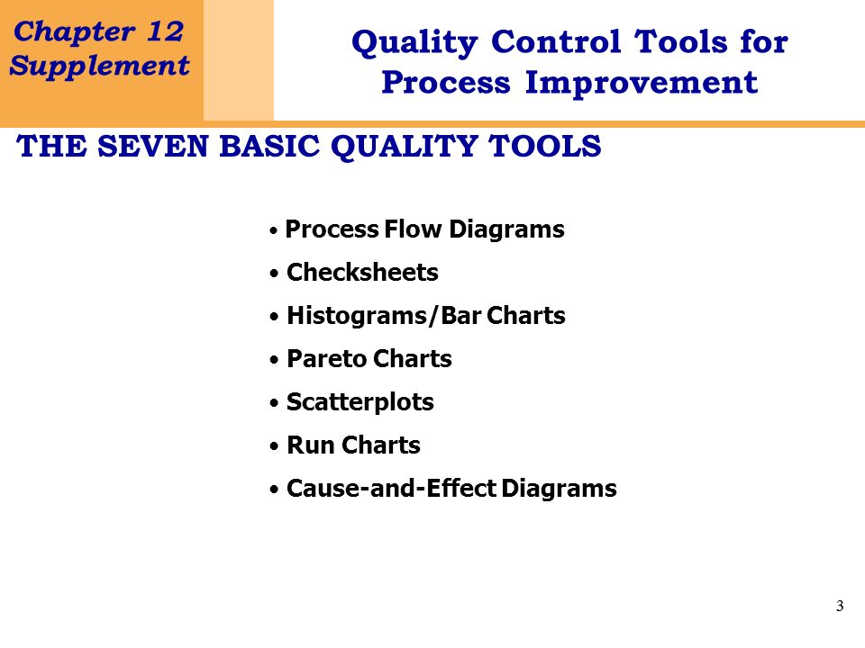 3 Chapter 12 Supplement Quality Control Tools for Process Improvement 3 THE SEVEN BASIC QUALITY TOOLS Process Flow Diagrams Checksheets Histograms/Bar