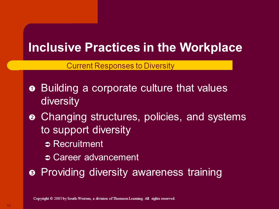 Copyright © 2005 by South-Western, a division of Thomson Learning. All rights reserved. 17 Inclusive Practices in the Workplace Building a corporate c