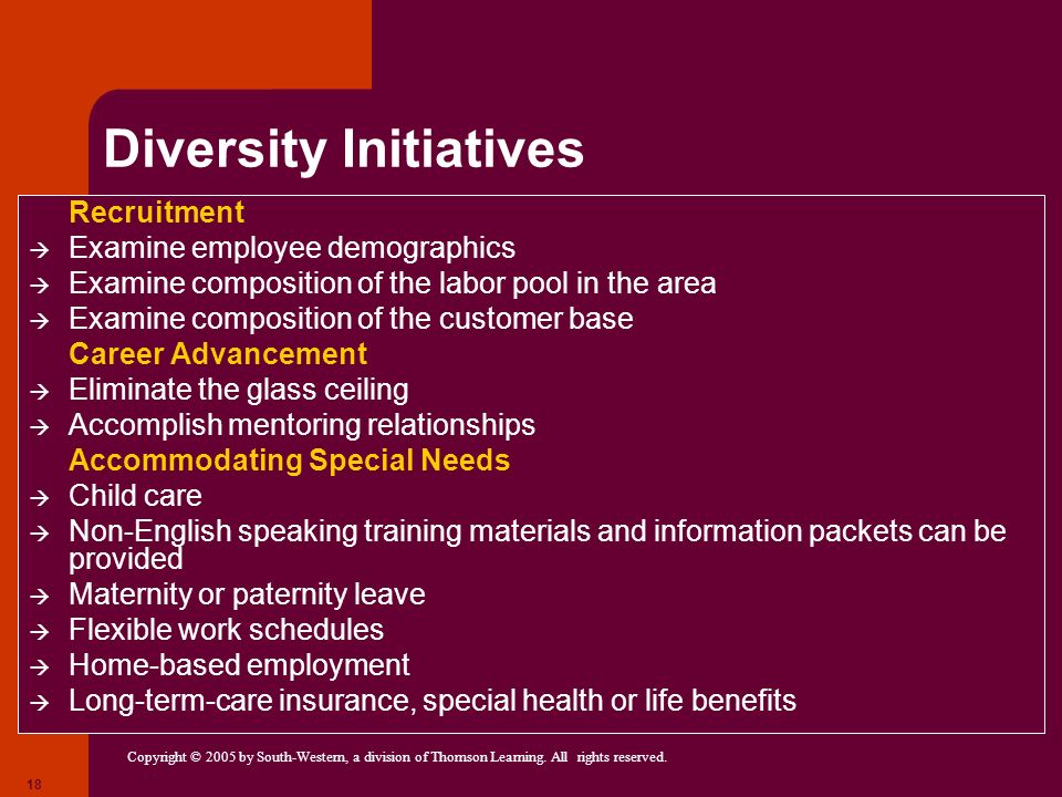Copyright © 2005 by South-Western, a division of Thomson Learning. All rights reserved. 18 Diversity Initiatives Recruitment Examine employee demograp