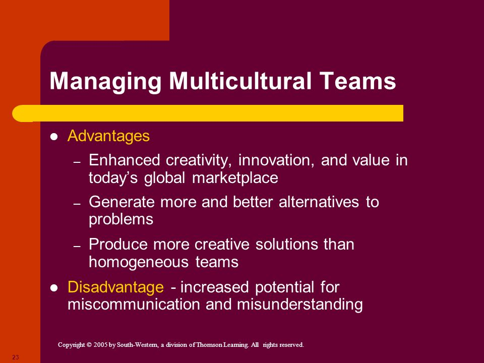 Copyright © 2005 by South-Western, a division of Thomson Learning. All rights reserved. 23 Managing Multicultural Teams Advantages – Enhanced creativi