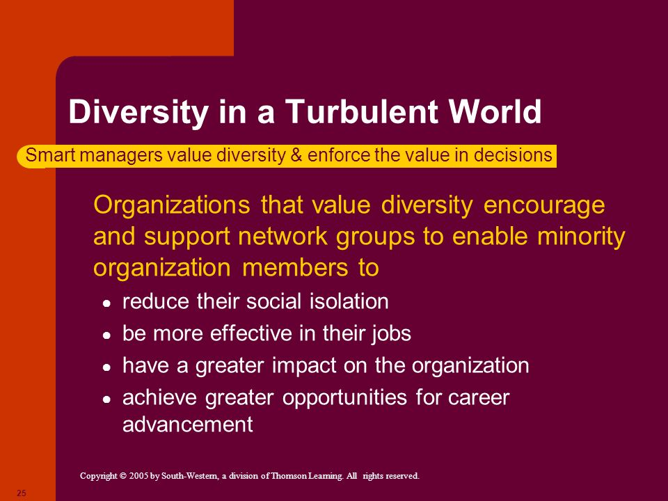 Copyright © 2005 by South-Western, a division of Thomson Learning. All rights reserved. 25 Diversity in a Turbulent World Organizations that value div
