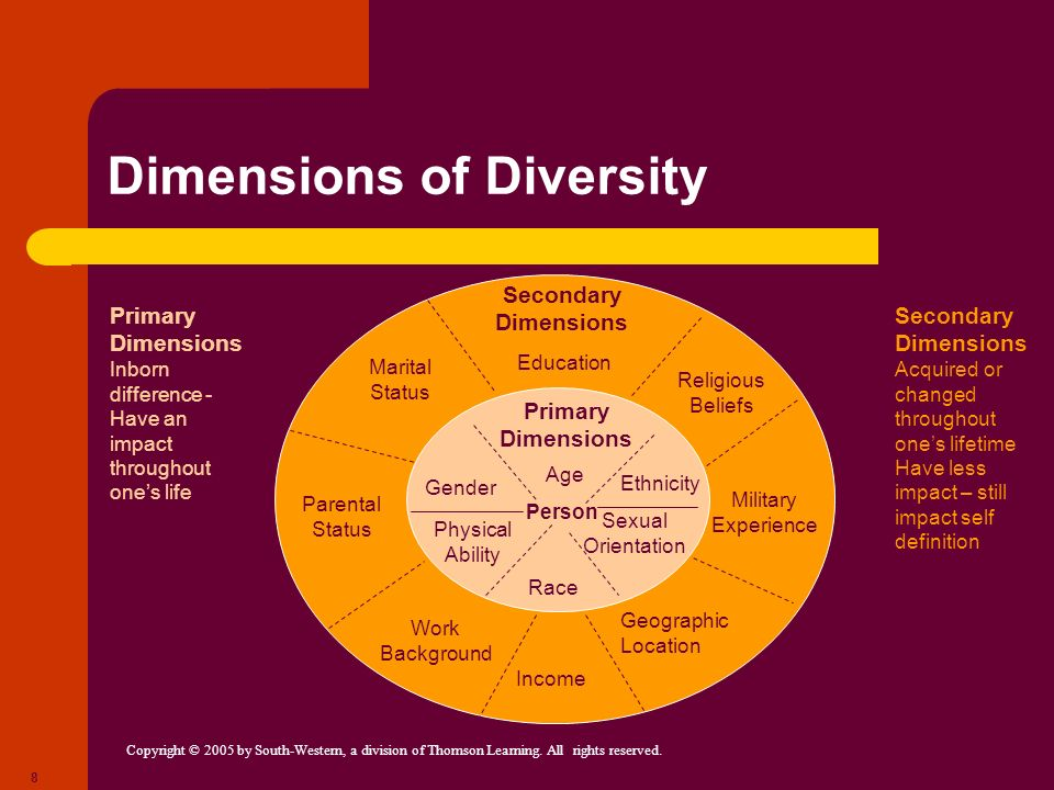 Copyright © 2005 by South-Western, a division of Thomson Learning. All rights reserved. 8 Dimensions of Diversity Person Race Physical Ability Sexual
