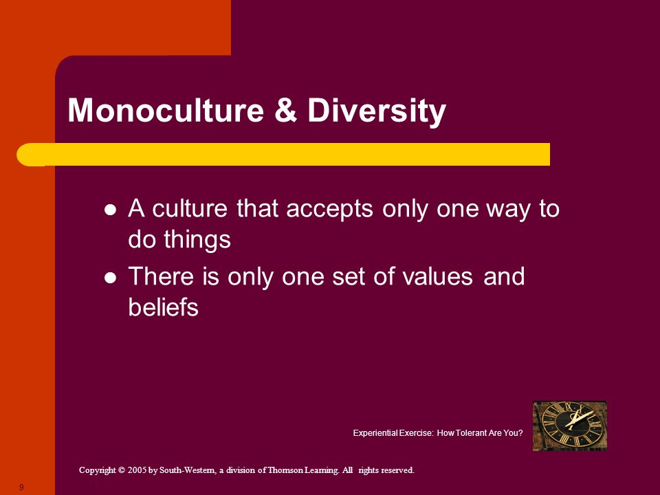 Copyright © 2005 by South-Western, a division of Thomson Learning. All rights reserved. 9 Monoculture & Diversity A culture that accepts only one way