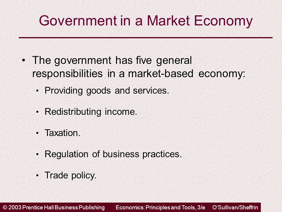 © 2003 Prentice Hall Business PublishingEconomics: Principles and Tools, 3/e OSullivan/Sheffrin Government in a Market Economy The government has five general responsibilities in a market-based economy:The government has five general responsibilities in a market-based economy: Providing goods and services.