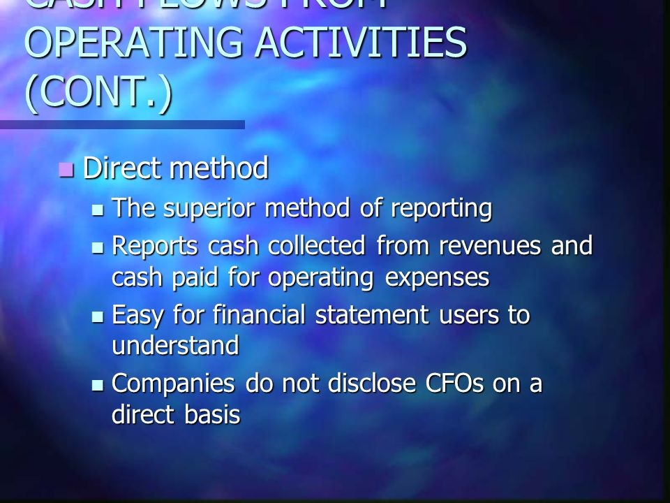 CASH FLOWS FROM OPERATING ACTIVITIES (CONT.) Direct method Direct method The superior method of reporting The superior method of reporting Reports cas