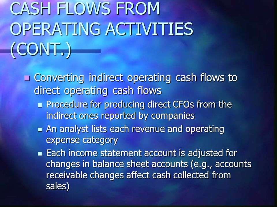 CASH FLOWS FROM OPERATING ACTIVITIES (CONT.) Converting indirect operating cash flows to direct operating cash flows Converting indirect operating cas
