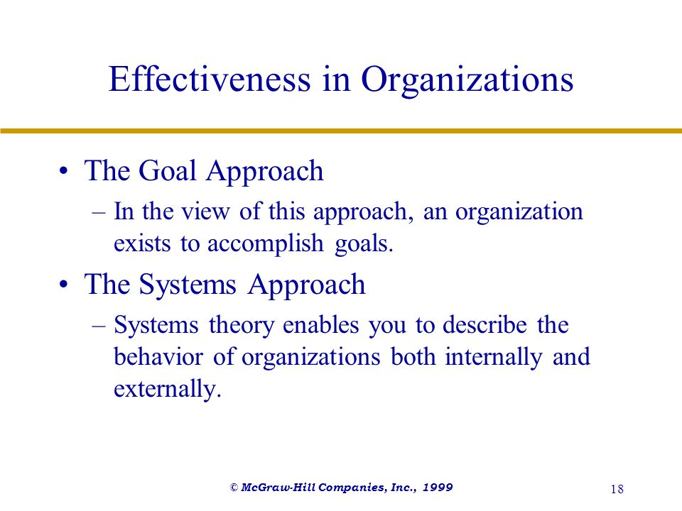 © McGraw-Hill Companies, Inc., 1999 18 Effectiveness in Organizations The Goal Approach –In the view of this approach, an organization exists to accom