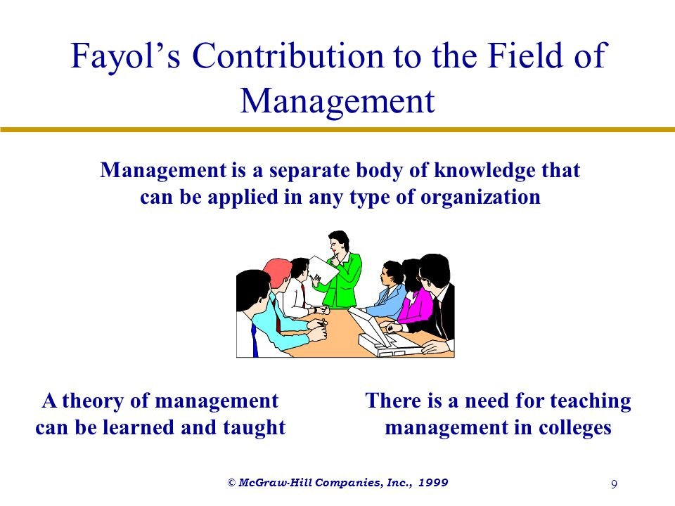 © McGraw-Hill Companies, Inc., 1999 9 Fayols Contribution to the Field of Management Management is a separate body of knowledge that can be applied in