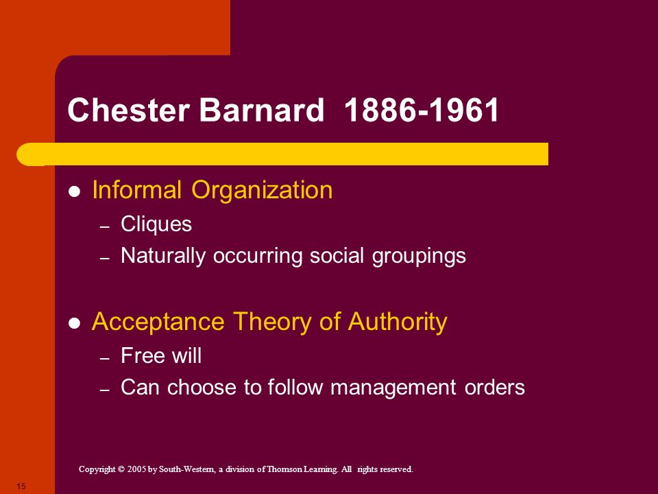 Copyright © 2005 by South-Western, a division of Thomson Learning. All rights reserved. 15 Chester Barnard 1886-1961 Informal Organization – Cliques –