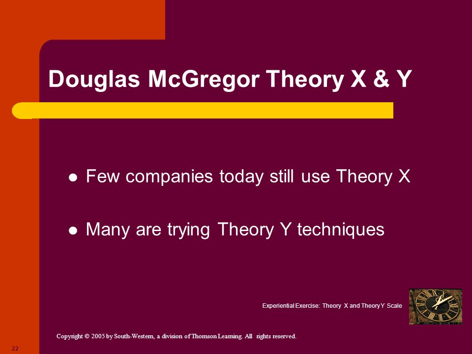 Copyright © 2005 by South-Western, a division of Thomson Learning. All rights reserved. 22 Douglas McGregor Theory X & Y Few companies today still use