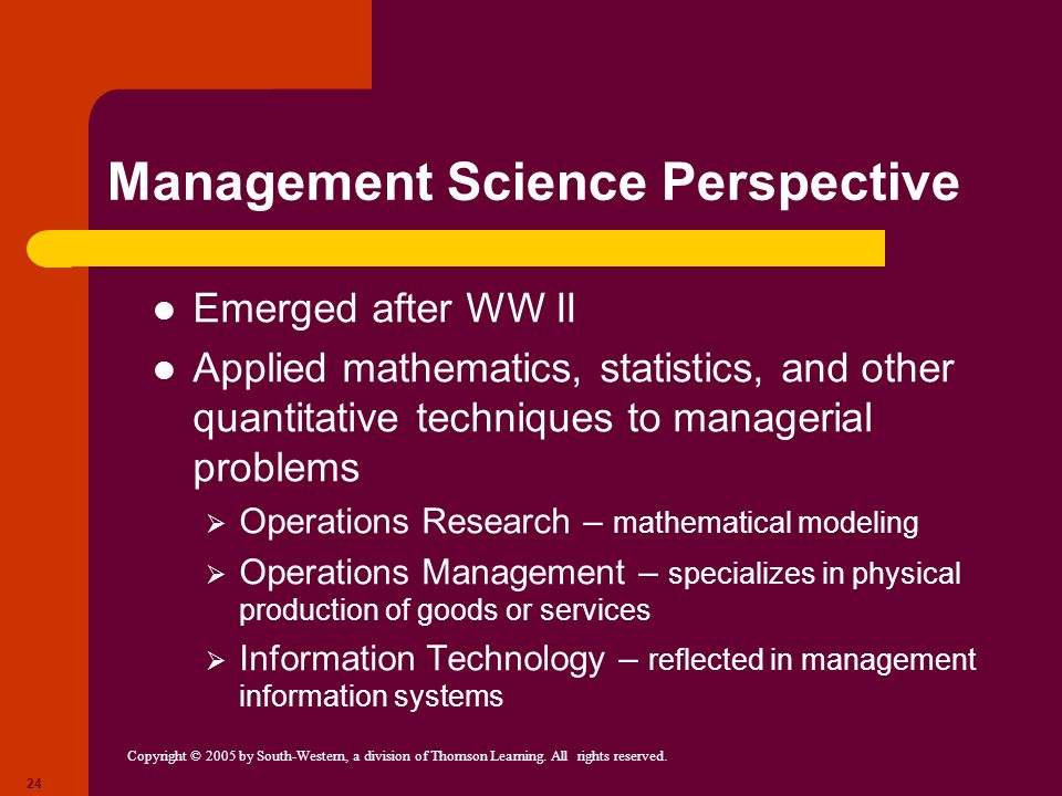 Copyright © 2005 by South-Western, a division of Thomson Learning. All rights reserved. 24 Management Science Perspective Emerged after WW II Applied