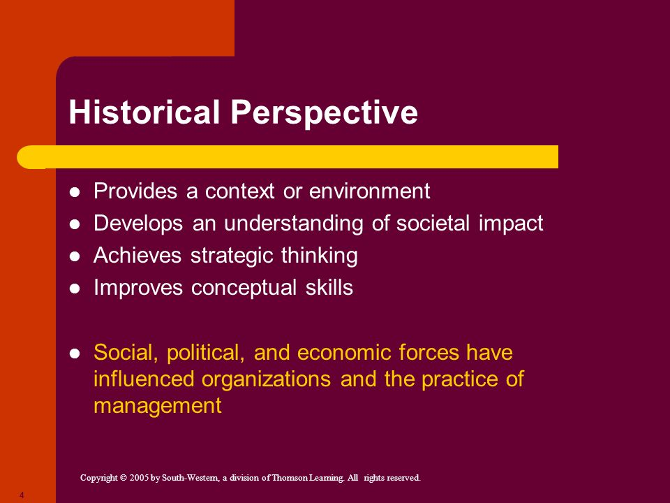 Copyright © 2005 by South-Western, a division of Thomson Learning. All rights reserved. 4 Historical Perspective Provides a context or environment Dev