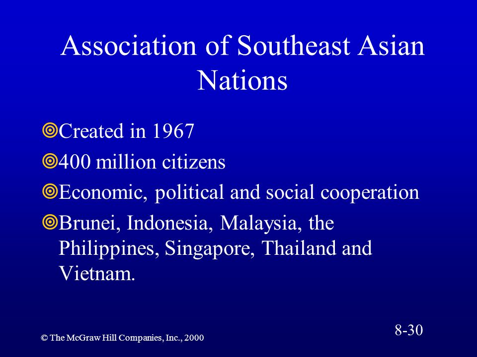 © The McGraw Hill Companies, Inc., 2000 Association of Southeast Asian Nations Created in 1967 400 million citizens Economic, political and social coo