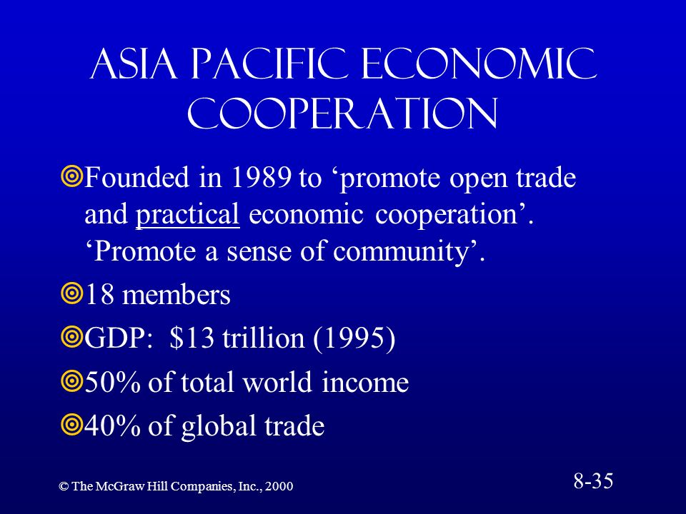 © The McGraw Hill Companies, Inc., 2000 Asia Pacific Economic Cooperation Founded in 1989 to promote open trade and practical economic cooperation. Pr