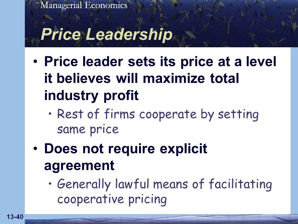 Managerial Economics 13-40 Price Leadership Price leader sets its price at a level it believes will maximize total industry profit Rest of firms coope