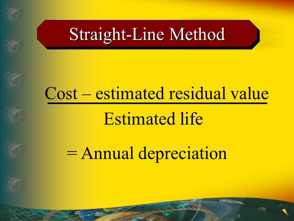 Straight-Line Method Cost – estimated residual value Estimated life = Annual depreciation