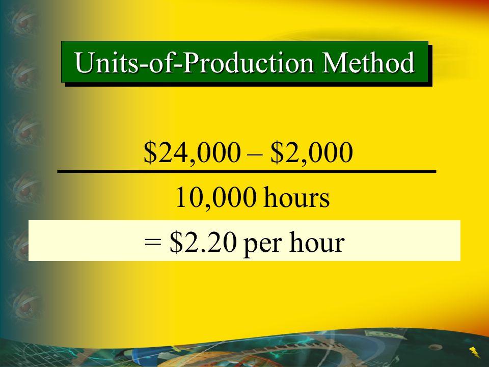 $24,000 – $2,000 10,000 hours = Depreciation per unit, hour, etc. = $2.20 per hour Units-of-Production Method