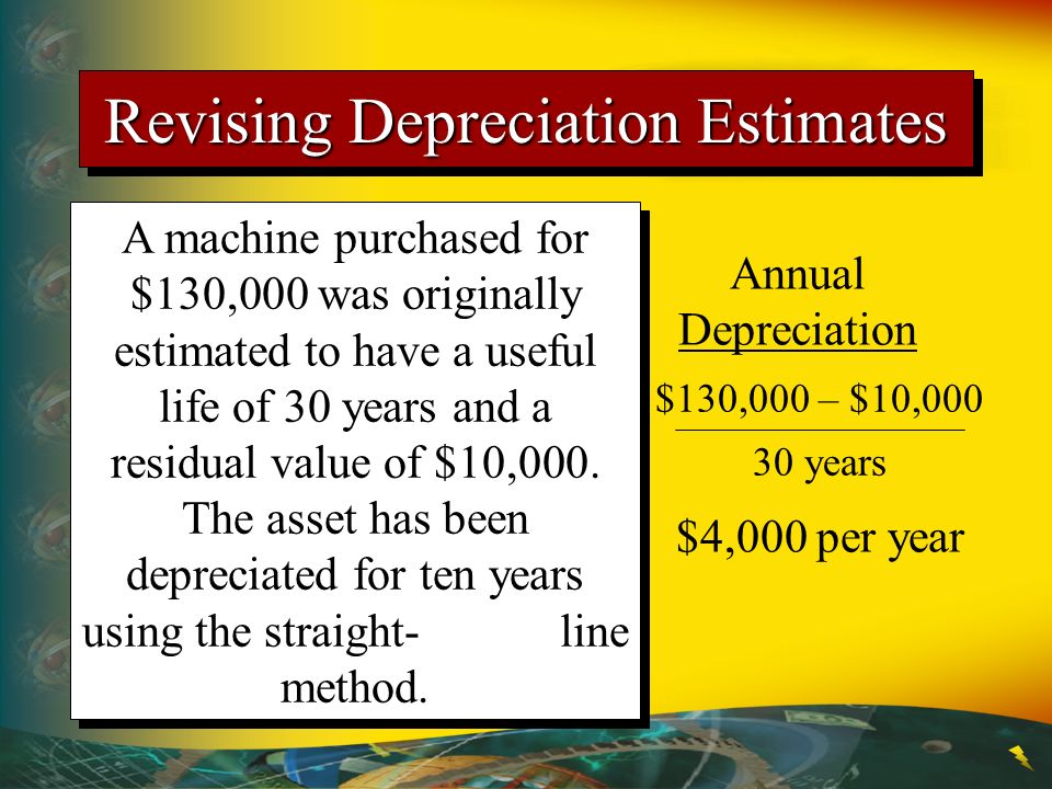 Revising Depreciation Estimates A machine purchased for $130,000 was originally estimated to have a useful life of 30 years and a residual value of $1