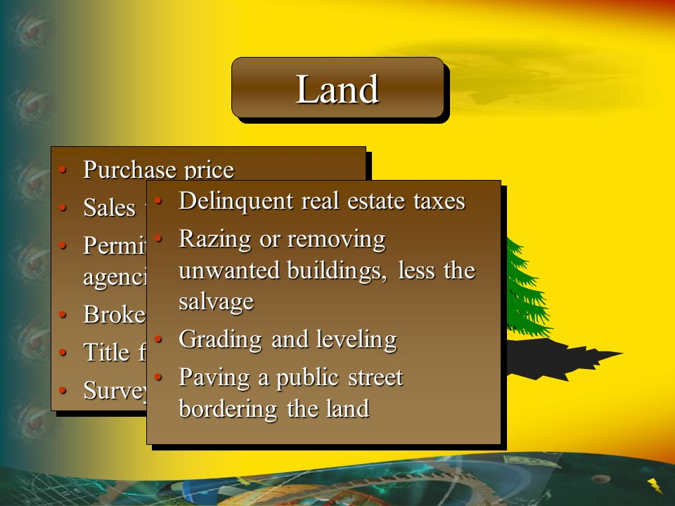 LandLand Purchase pricePurchase price Sales taxesSales taxes Permits from government agenciesPermits from government agencies Brokers commissionsBroke