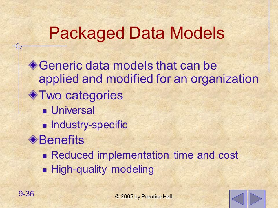 © 2005 by Prentice Hall 9-36 Packaged Data Models Generic data models that can be applied and modified for an organization Two categories Universal In