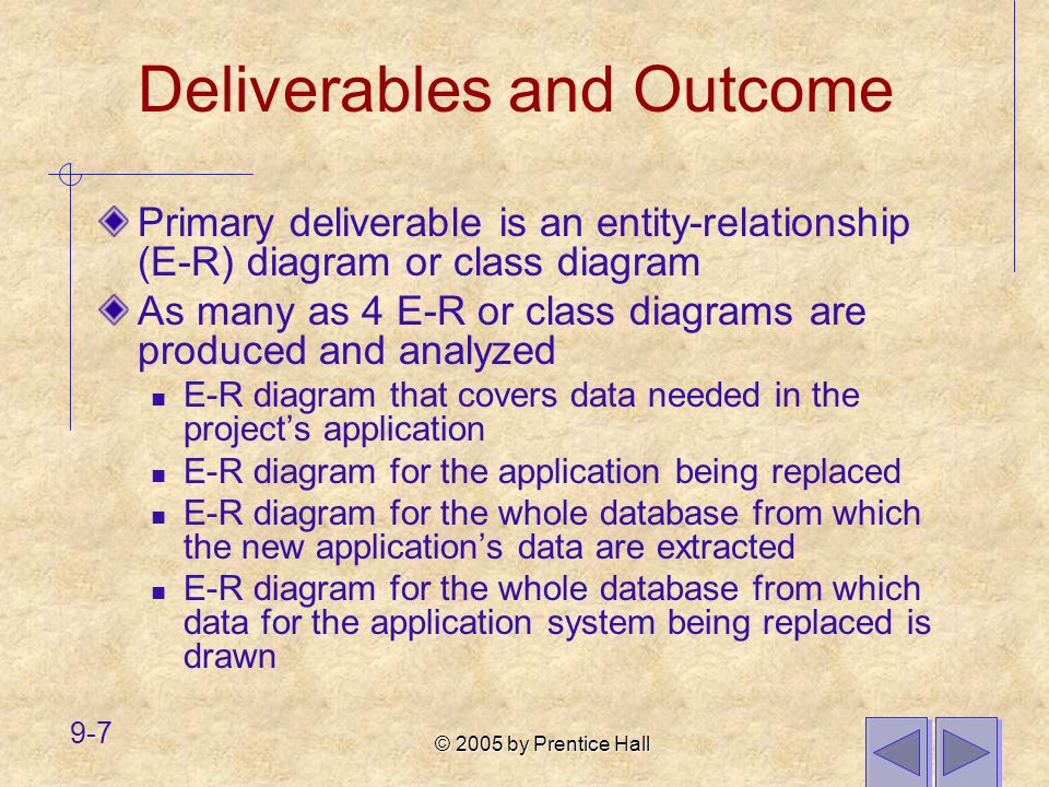 © 2005 by Prentice Hall 9-28 A relationship that itself is related to other entities via another relationship must be represented as an associative entity.