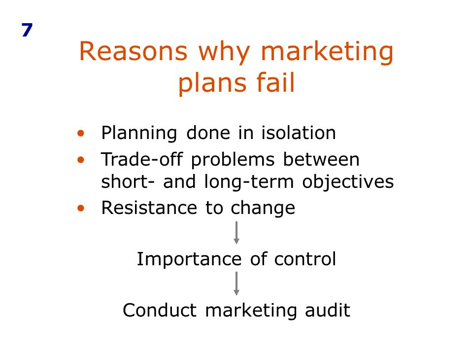 Reasons why marketing plans fail 7 Planning done in isolation Trade-off problems between short- and long-term objectives Resistance to change Importan