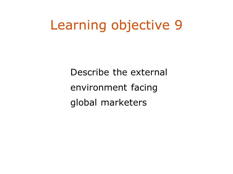 Describe the external environment facing global marketers Learning objective 9