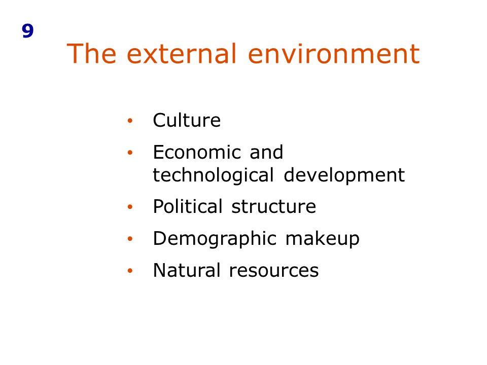 The external environment 9 Culture Economic and technological development Political structure Demographic makeup Natural resources