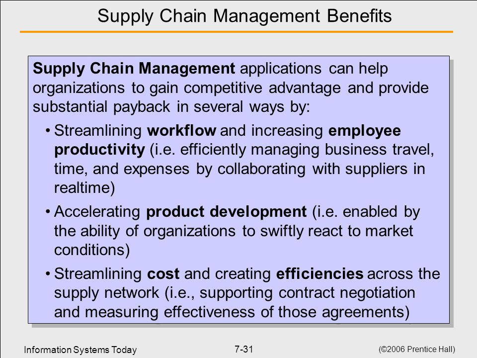 Information Systems Today (©2006 Prentice Hall) 7-31 Supply Chain Management Benefits Supply Chain Management applications can help organizations to gain competitive advantage and provide substantial payback in several ways by: Streamlining workflow and increasing employee productivity (i.e.