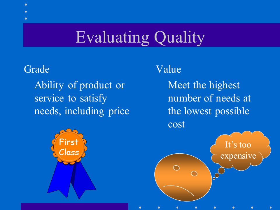 Evaluating Quality Grade Ability of product or service to satisfy needs, including price Value Meet the highest number of needs at the lowest possible