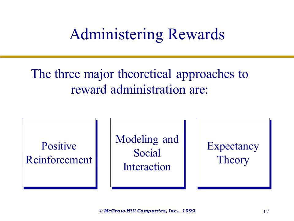 © McGraw-Hill Companies, Inc., 1999 17 Administering Rewards The three major theoretical approaches to reward administration are: Positive Reinforceme