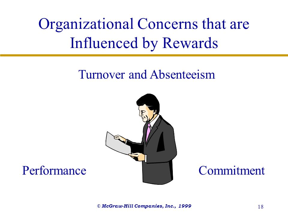 © McGraw-Hill Companies, Inc., 1999 18 Organizational Concerns that are Influenced by Rewards Turnover and Absenteeism PerformanceCommitment