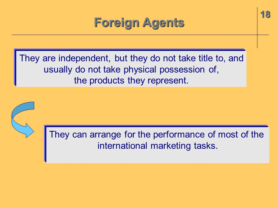 18 They are independent, but they do not take title to, and usually do not take physical possession of, the products they represent. Foreign Agents Th