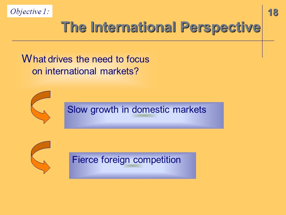 The International Perspective 18 Objective 1: W hat drives the need to focus on international markets? Slow growth in domestic markets Fierce foreign