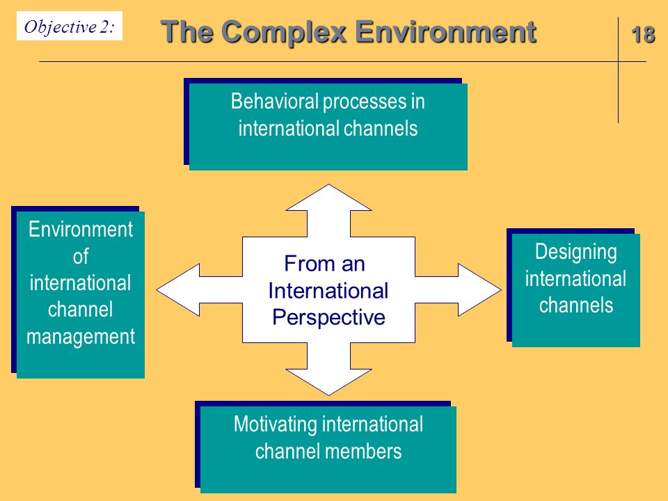 18 The Complex Environment Objective 2: From an International Perspective Environment of international channel management Environment of international channel management Motivating international channel members Behavioral processes in international channels Behavioral processes in international channels Designing international channels Designing international channels