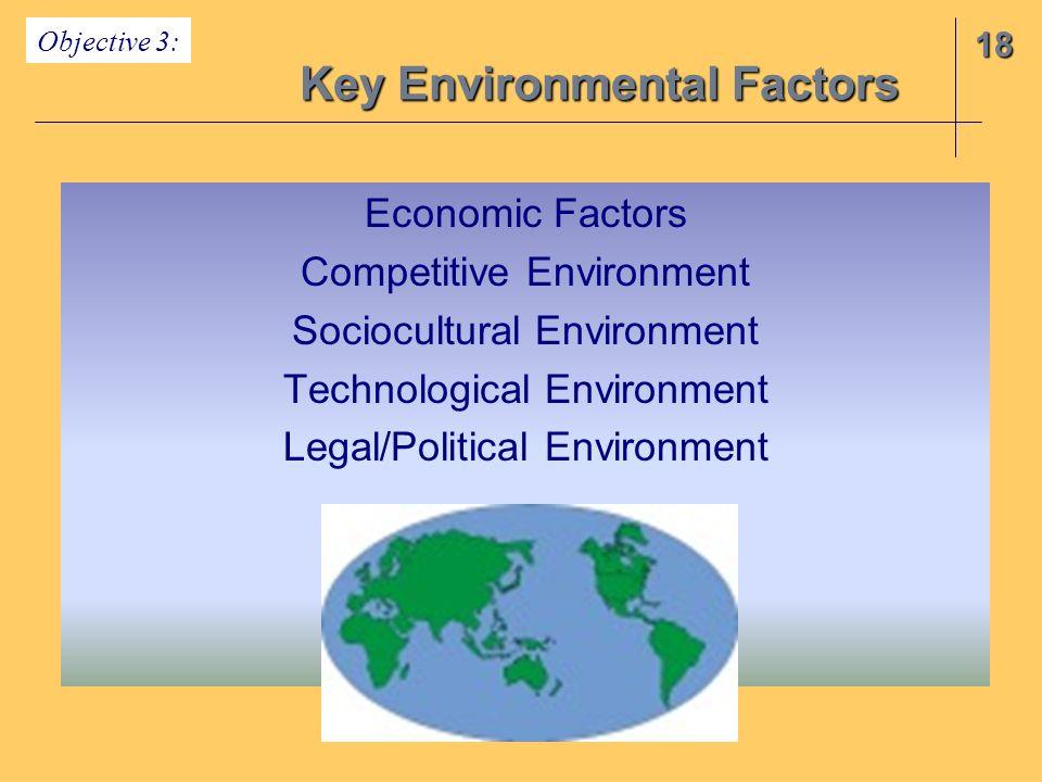 18 Key Environmental Factors Objective 3: Economic Factors Competitive Environment Sociocultural Environment Technological Environment Legal/Political